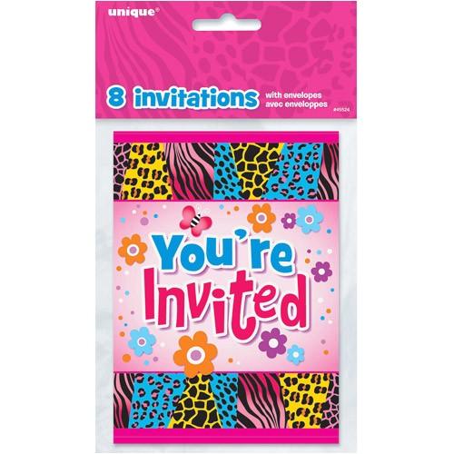Birthday Party Invitations at Walmart Wild Birthday Invitations 8pk Walmart
