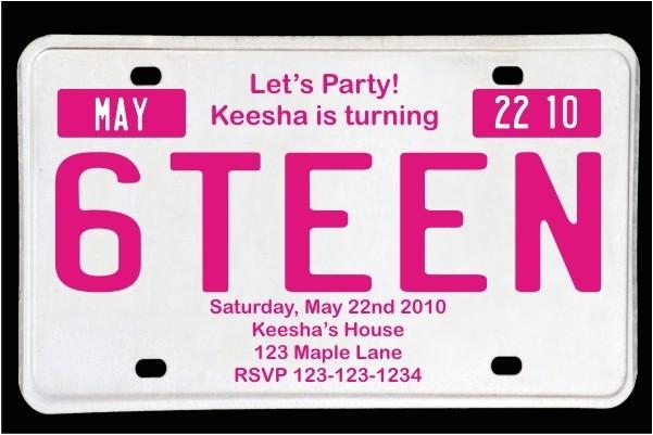 sweet 16 license plate birthday invitation magenta