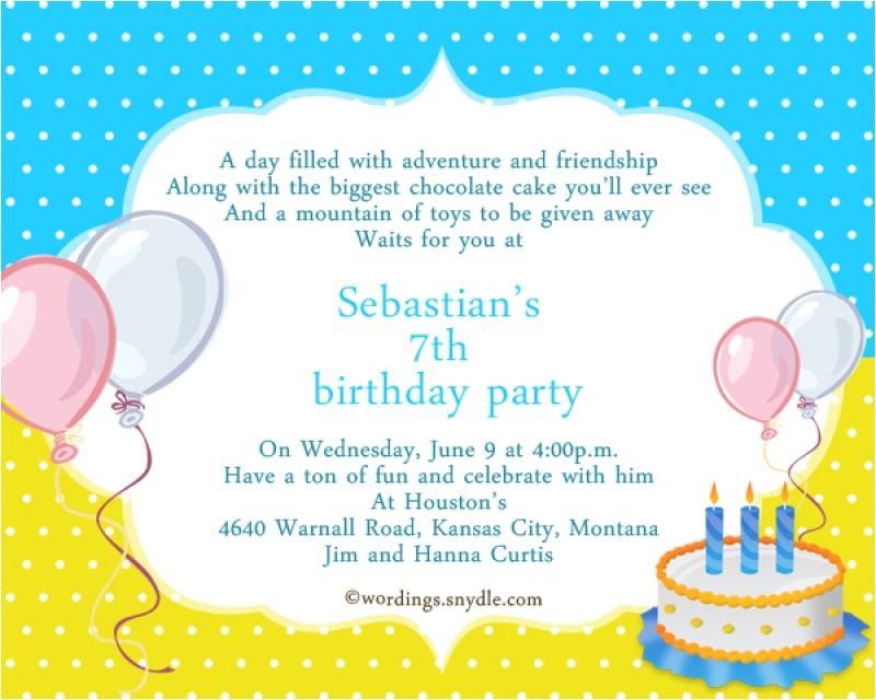 7th birthday invitation