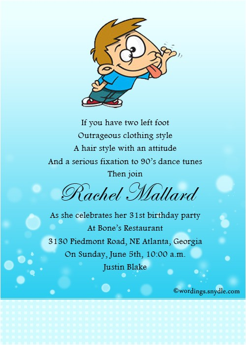 funny birthday party invitation wording