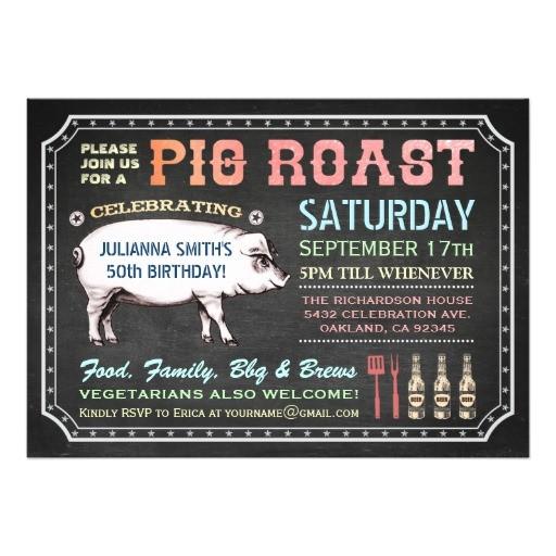 chalkboard pig roast invitations classy casual 256391819108188552