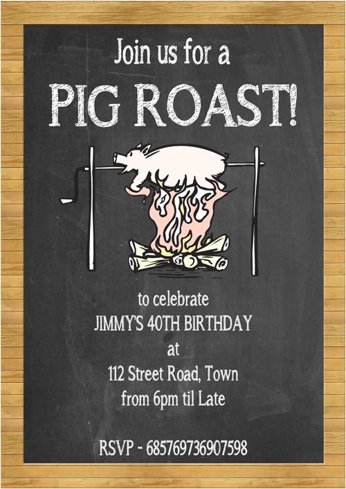 pig roast blackboard birthday invitations 3061 p