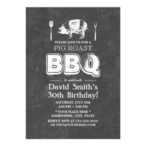 vintage chalkboard pig roast bbq birthday party 5x7 paper invitation card 161515501750286019