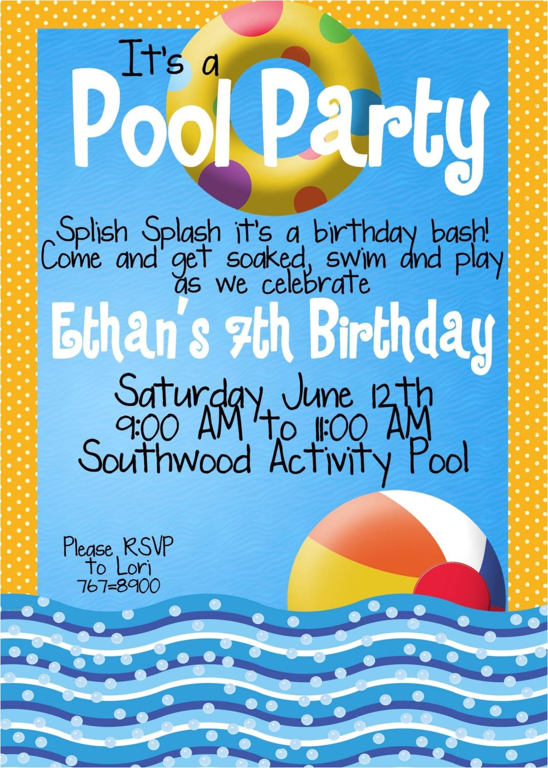 kid pool party invitation wording