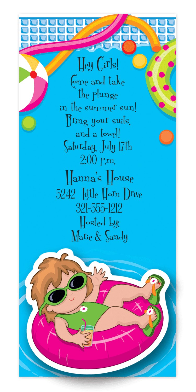 pool party birthday invitation wording