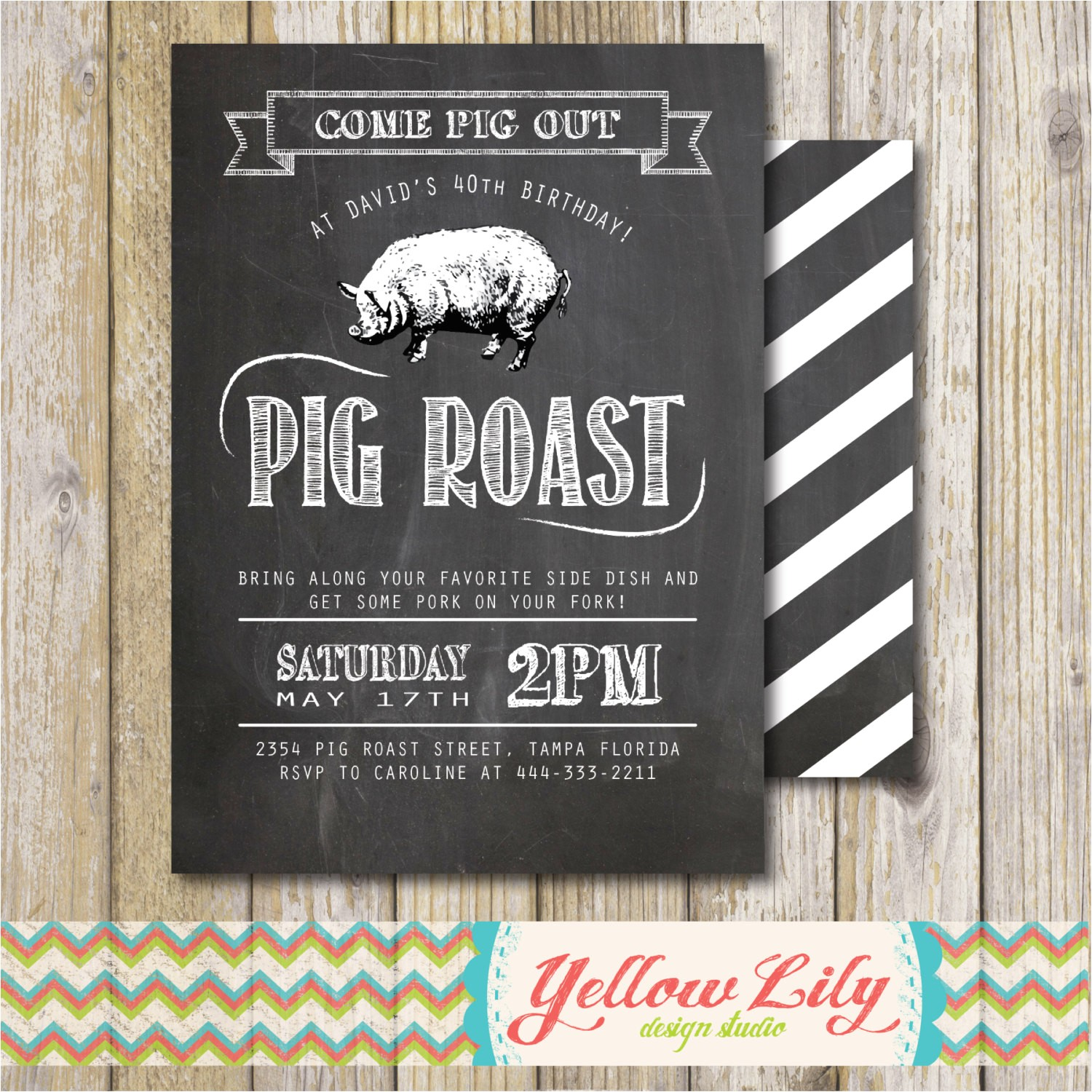 pig roast party invitation birthday