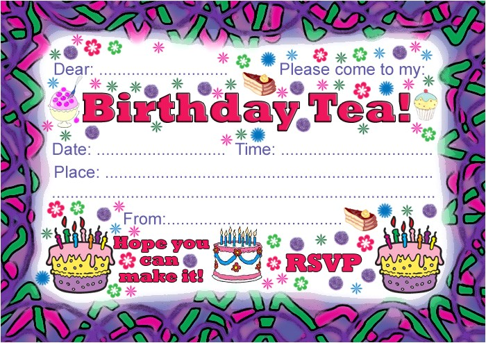 party invitation birthday tea