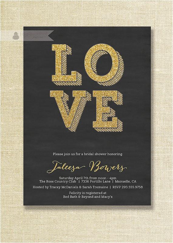 black gold bridal shower invitation gold
