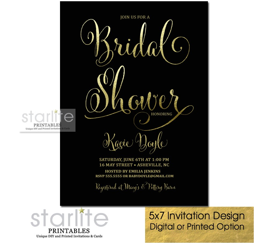 black and gold bridal shower invitation fancy script kacie