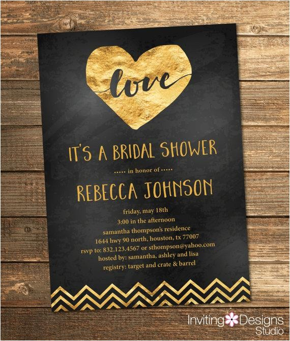 gold and black bridal shower invitation gold foil love chevron chalkboard chalk heart wedding shower invite printable file