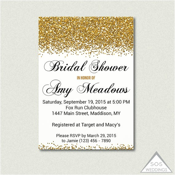 gold bridal shower invitation black and