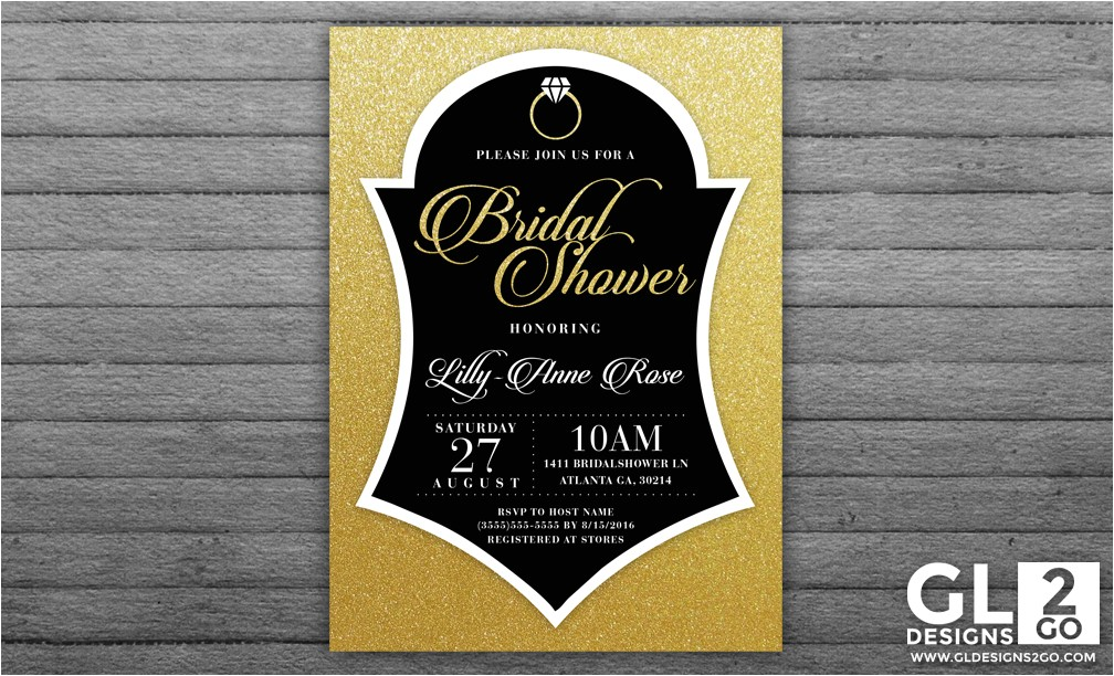 gold and black bridal shower invite