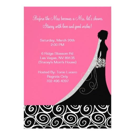 "Black and Pink Bridal Shower Invitations Bridal Shower Invitations In Hot Pink and Black 5"" X 7"