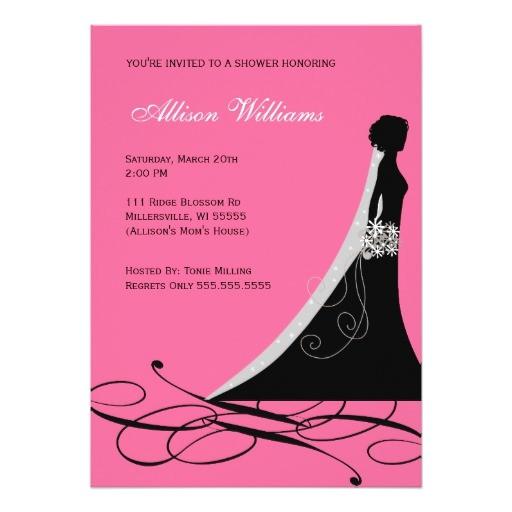 Black and Pink Bridal Shower Invitations Bridal Shower Invitations In Hot Pink and Black