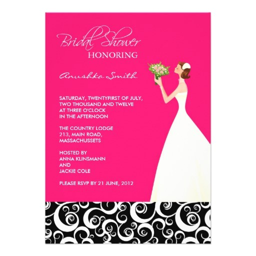 "Black and Pink Bridal Shower Invitations Hot Pink and Black Bridal Shower Invitations 5"" X 7"