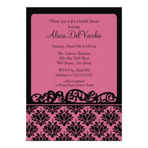 pink black damask bridal shower invitation