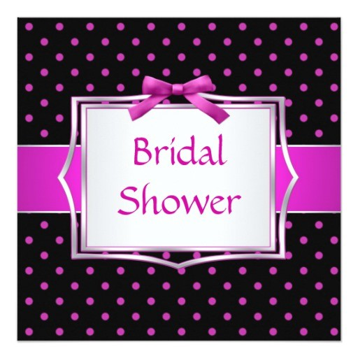 polka dot black and pink bridal shower invitation