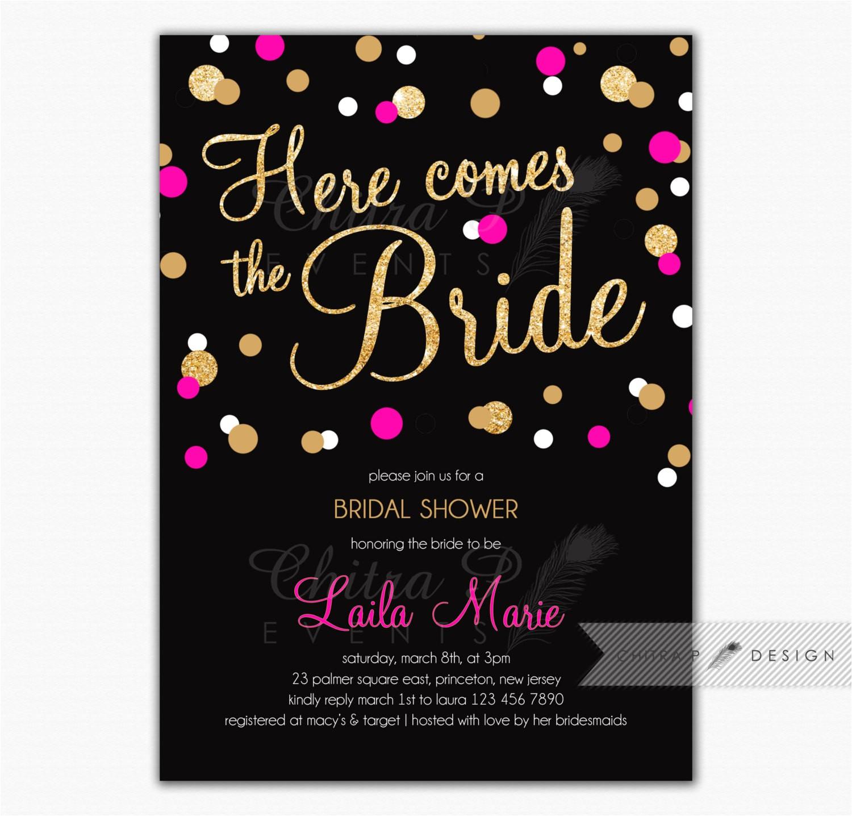 black pink bridal shower invitation