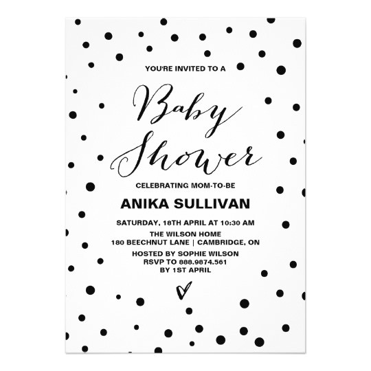black white confetti dots baby shower invitation