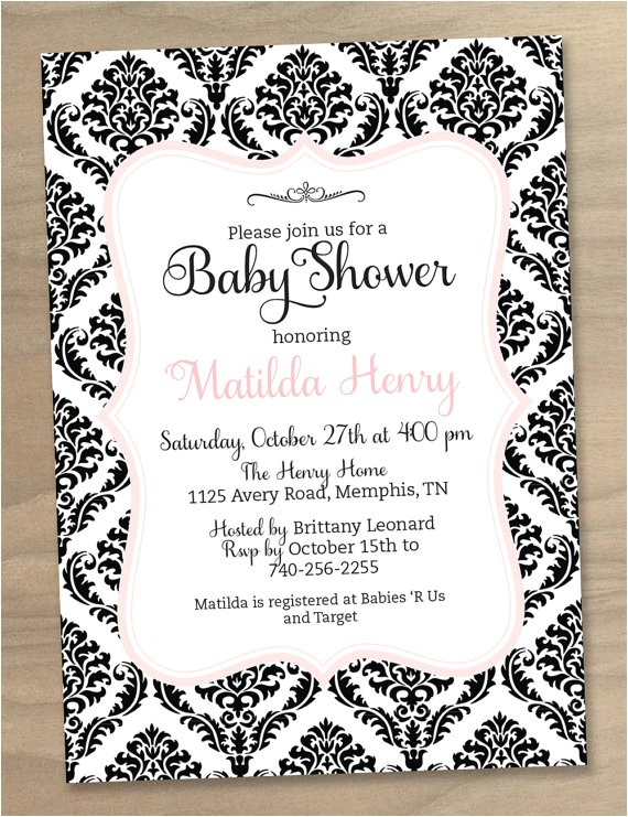 black and white baby shower invitations template