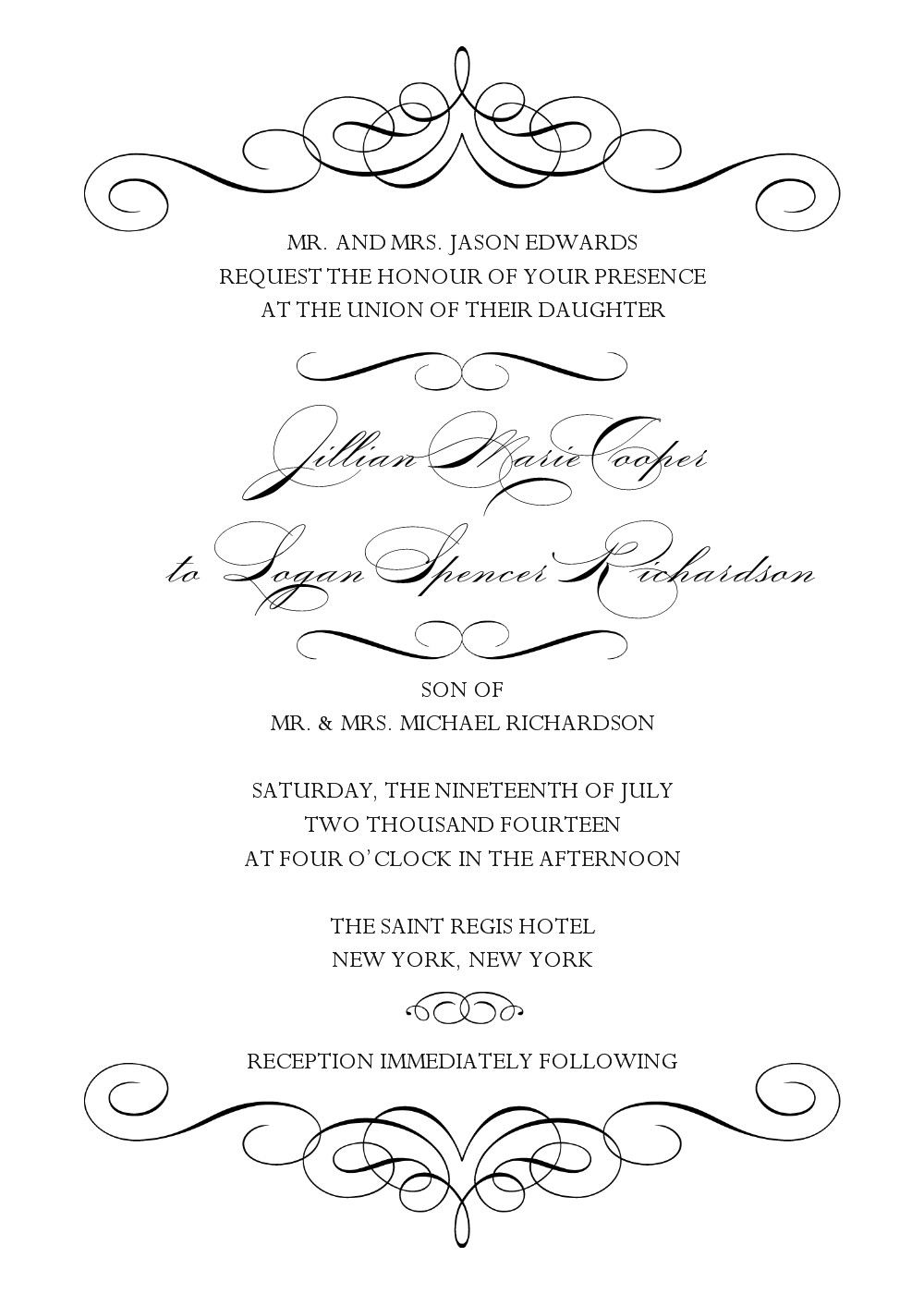 post black and white wedding invitation templates printable