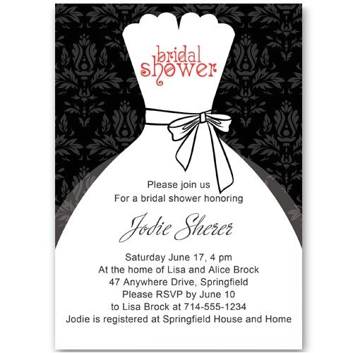 black and white inexpensive wedding dress bridal shower invitations ewbs053