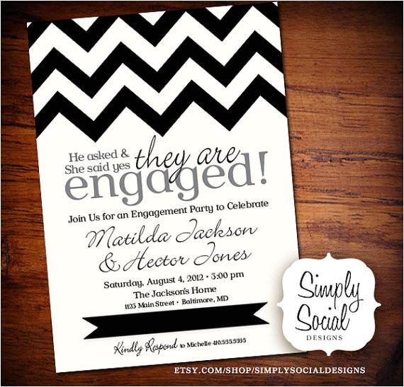 black and white chevron engagement party invitation