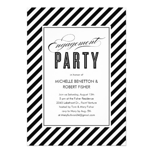 black and white engagement party invitations 161390175365917187