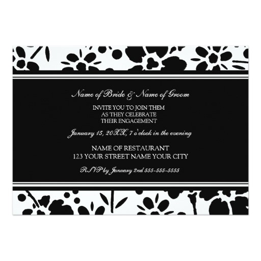 black and white photo engagement party invitations 161120385447003873