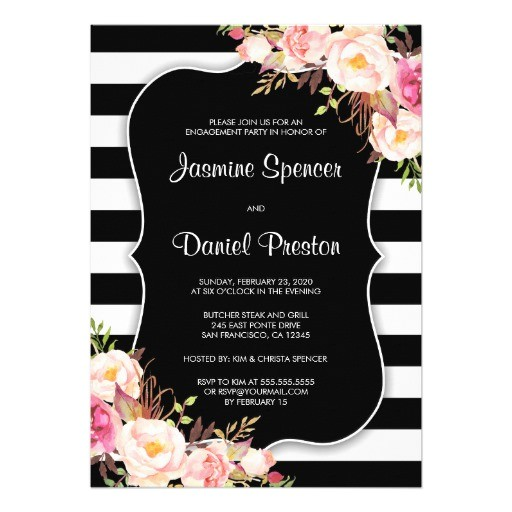 black and white stripe engagement party invitation 256178676639799329