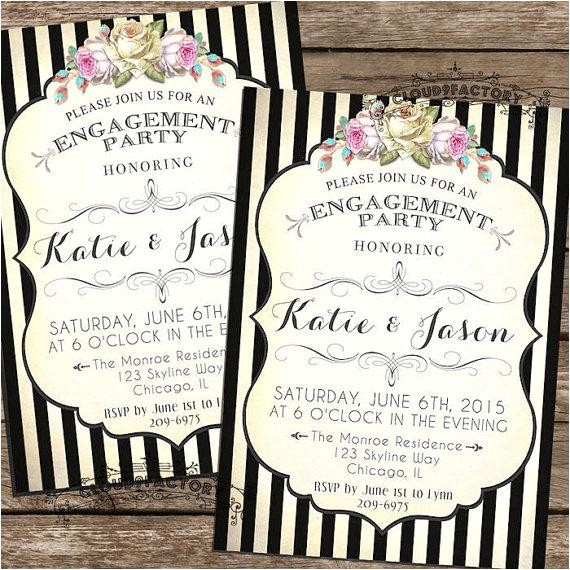 engagement party invitations printable diy black and white stripes digital file no325