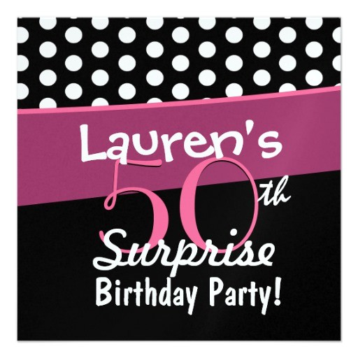 50th surprise birthday black white polka dots pink invitation 161954790482484203