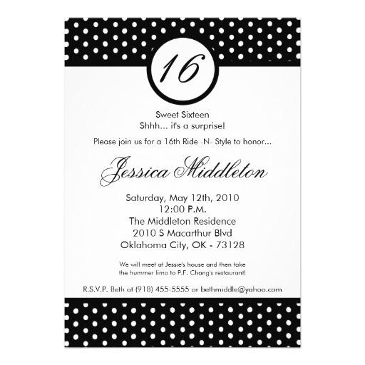 5x7 black white polka dot 16th birthday invitation 161974432687757627
