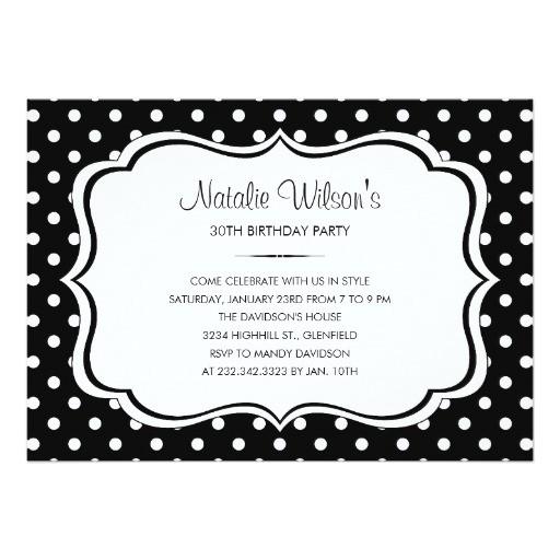 black and white polka dot invitations 161655081204358037