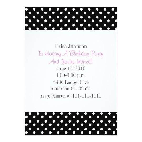 black and white polka dot print party invitation 161634887805283865