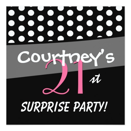 black and white polka dot surprise birthday party invitation 161285958729020859