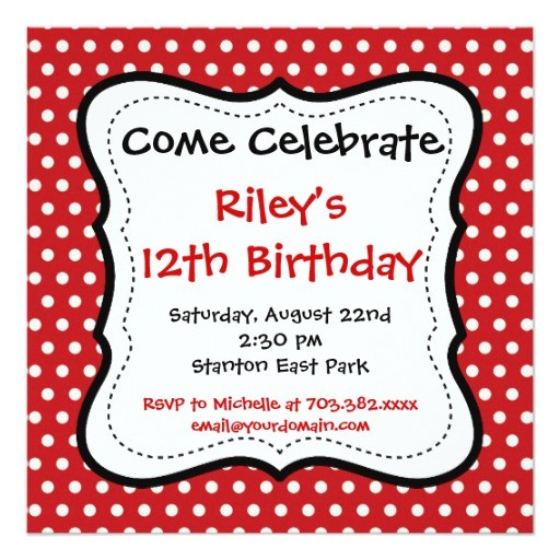 red black polka dots birthday party invitations 161584743599546323