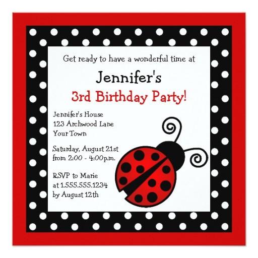 red ladybug birthday black and white polka dots invitation 161414902150042368