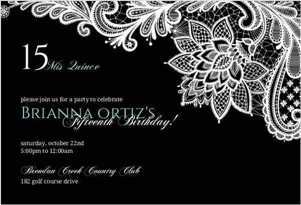 Black and White Quinceanera Invitations Black Floral Lace Quinceanera Invitation Quinceanera