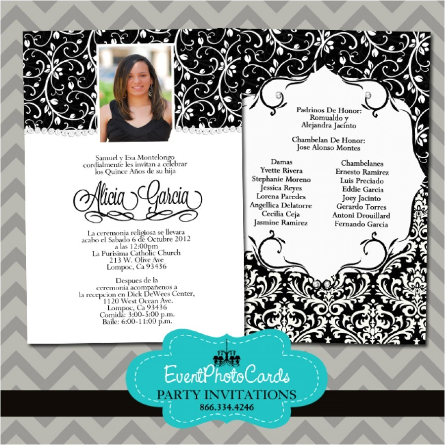 black and white quinceanera invitations a
