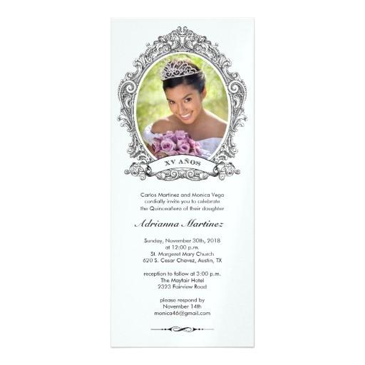shiny white and black quinceanera photo invitation 161229051767338164