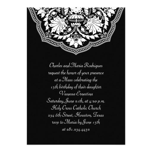 white black latin pattern quinceanera invitation 161511312739956315