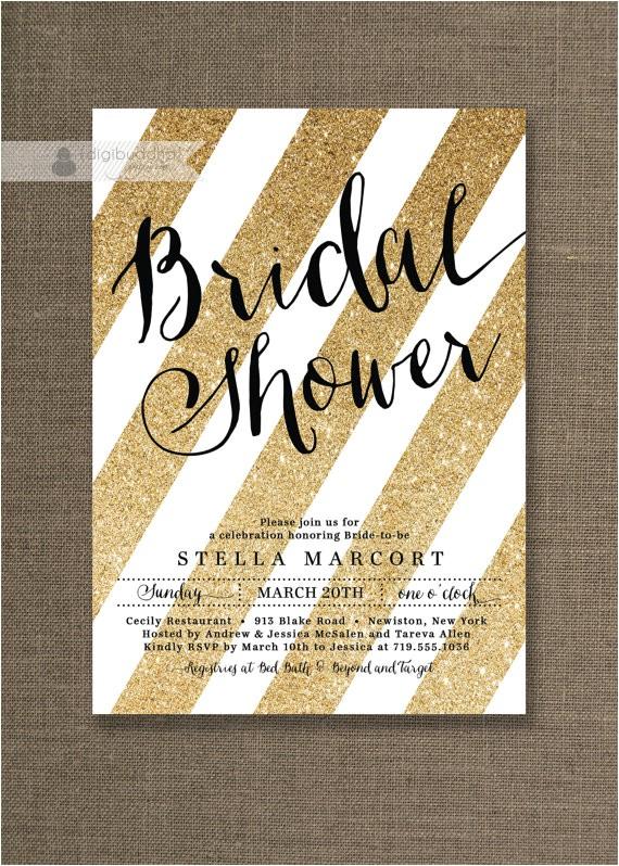 black gold bridal shower invitation