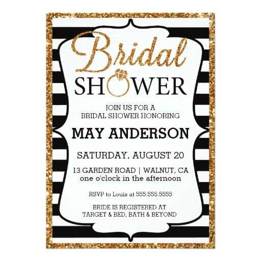 black white gold glitter bridal shower invitation