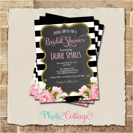bridal shower invitation glitter gold invitation peony invitations bridal shower invites black white invitation bs110