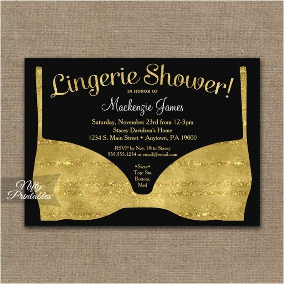 bridal shower invitation gold black lingerie printed