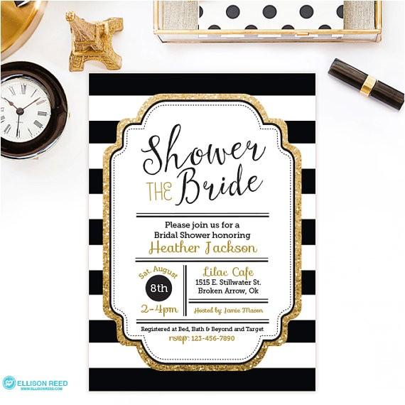 bridal shower invitation gold glitter bridal shower invitation black white bridal shower invitation bridal shower printable invite