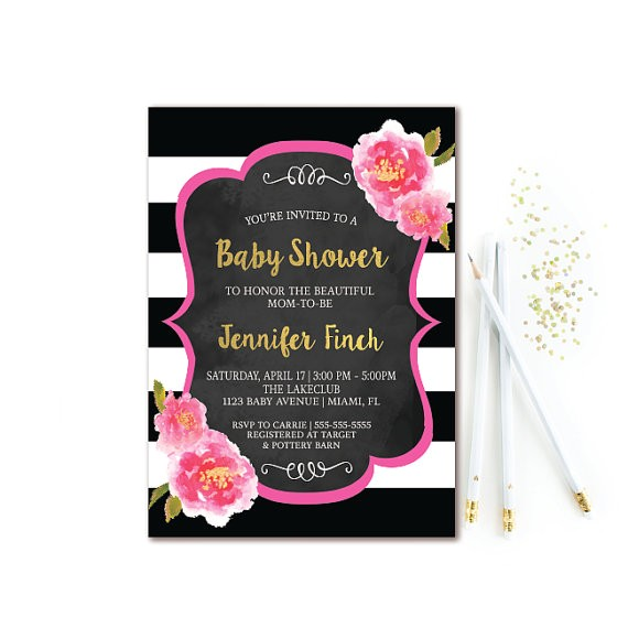 floral baby shower invitation black white 5