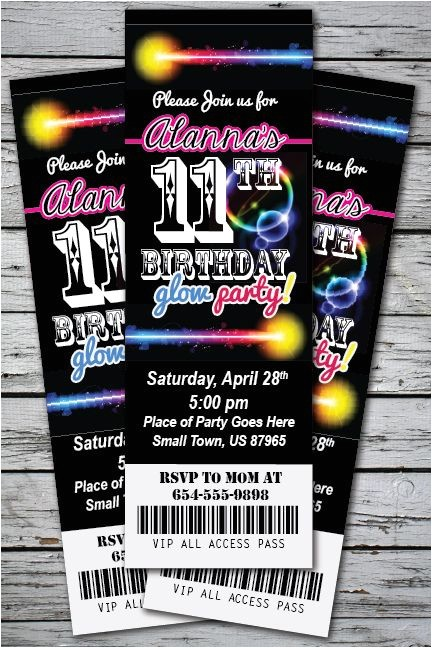 neon party invitations
