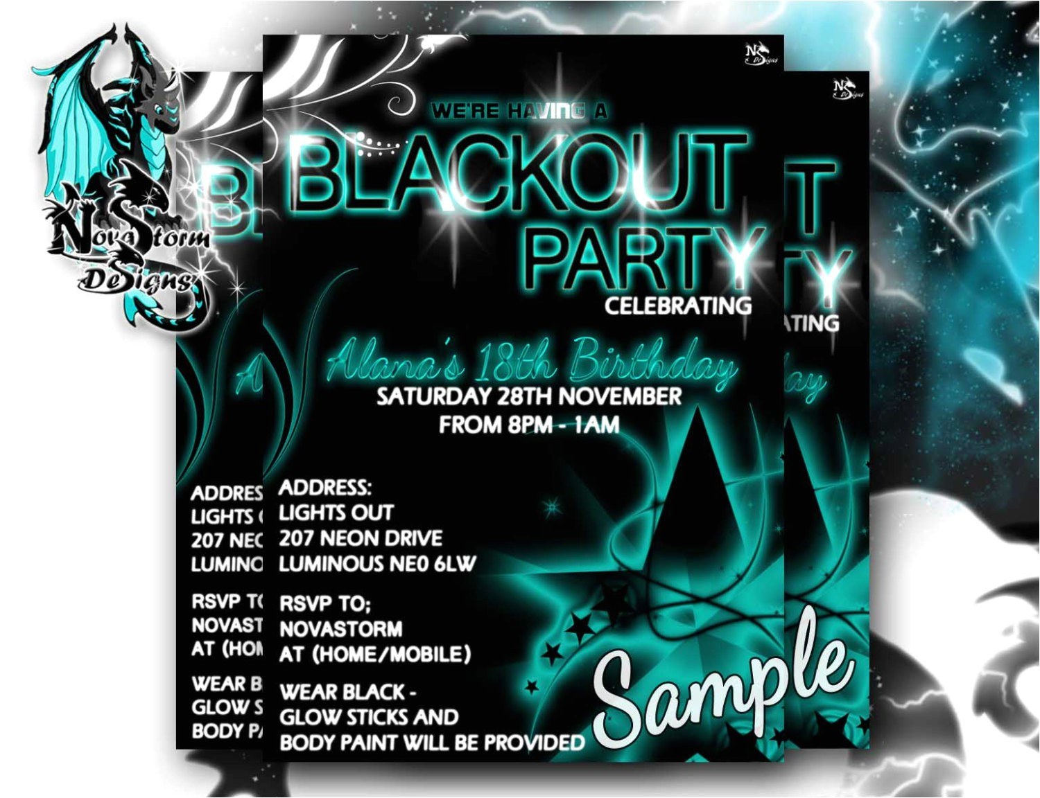 blackout party invitations uv glow dance